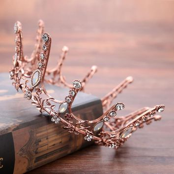 Beauty Coffee Gold Tiara Crown Baroque Retro Queen King Crowns Bridal Wedding Headdress Rhinestone Tiaras Hair accessories