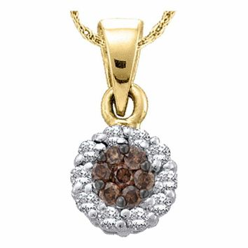 14k Yellow Gold Women's Cognac-brown Color Enhanced Diamond Flower Cluster Circle Pendant 1-2 Cttw - FREE Shipping (US/CAN)
