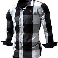 Mens Sleeve Button Down Plaid Shirts