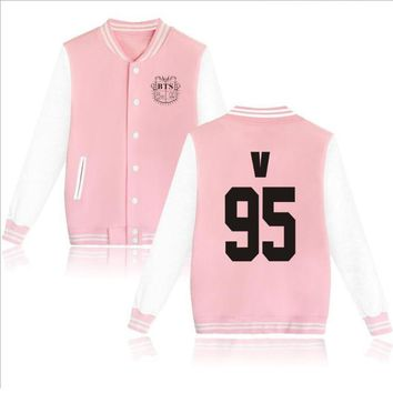 KPOP BTS Bangtan Boys Army Moletom   Boys Baseball Uniform Fleece jacket Women Men   v jin jimin suga Long Sleeve Pink Hoodie Sweatshirts AT_89_10