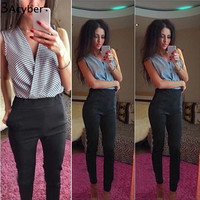 Bodycon Jumpsuits 2016 Womens Sexy V-neck Sleeveless Chiffon Patchwork Rompers Playsuits Long Black Pants Overalls Plus Size u2