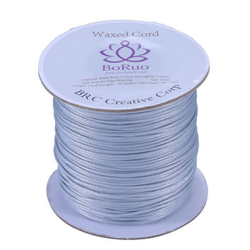Boruo Brand 1mm Waxed Cotton Cord Beading Cord Waxed String Wax Cording Cord for Jewelry Making and Macrame Supplies 100 Yards Roll Spool Light Grey with Acrylic Jar