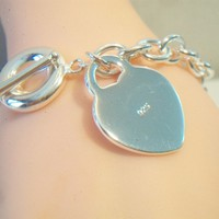 eBlueJay: Heart Charm Chain Link Bracelet Toggle Clasp Silver Plate Valentine's Day Jewelry