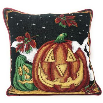 "DaDa Bedding Halloween Pumpkins Throw Pillow Cover Tapestry Cases 16"" x 16"" (12914)"