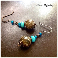 Carved Tan Jade Dangle Earrings / Antique Copper / Aquamarine / Turquoise Sea Glass/ Romantic / Trending / Free Shipping / Gift Ideas