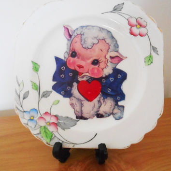 OOAK Lamb Decorative Plate- Spring Floral Sheep- Retro Kitsch- Bone China Dinner Plate- Easter Gift