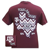 New Texas A&M Aggies State Chevron EST. 1876 Girlie Bright T Shirt
