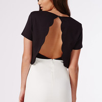Black White Dress Open Back Holiday Party Dress