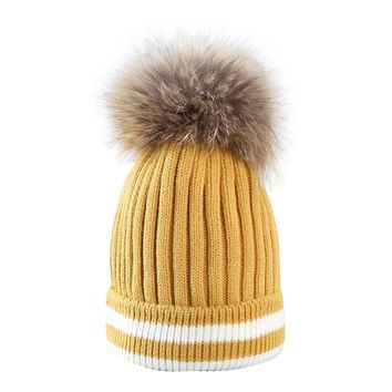MUQGEW 2017 Acrylic Fibres Lovely Hat Women Outdoor Winter Hair Ball  Stripe Knitted Hat Beanies Cap  Hat Casual And Simple
