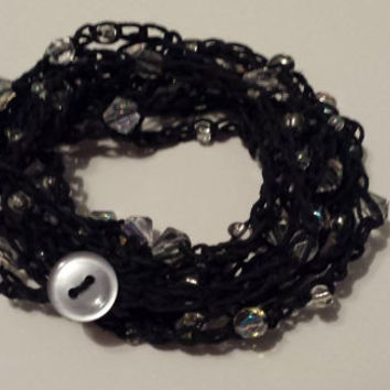 Crochet Crystal Beaded Wrap Bracelet / Necklace Button Closure