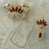 CORO Double Queens Crown Chatelaine Brooch Ruby Rhinestones Vintage Jewelry