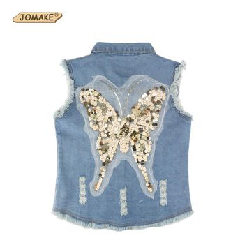 Sequin Butterfly Girls Denim Vest Spring 2018 Fashion Brand Clothing Children Outerwear & Coats Baby Girl Waistcoat Kids Jackets