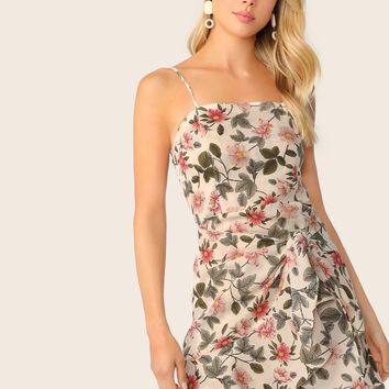 Floral Print Bow Tie Front Cami Dress