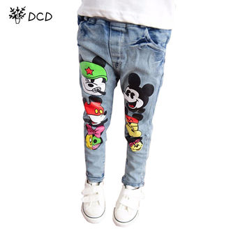 Brand kids boys girls jeans pants spring autumn soft children girl baby elastic waist cartoon cotton denim jeans for boys girls