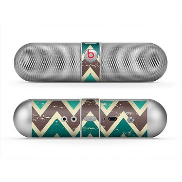 The Vintage Green & Tan Chevron Pattern V3 Skin for the Beats by Dre Pill Bluetooth Speaker