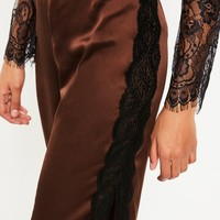 Missguided - Brown Satin Side Split Lace Detail Wide Leg Trousers