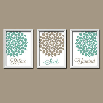 Relax Soak Unwind Seafoam Beige Brown - Flourish Dahlia Flower Artwork Set of 3 Bathroom Prints WALL Decor ART Picture Match