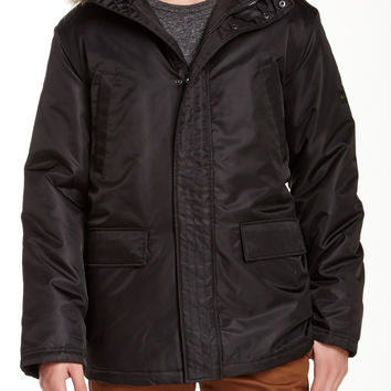 BEN SHERMAN Men's Faux Fur Hooded Nylon Twill Jacket Sz XL Black $200