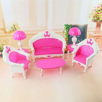 New Arrive Children Cute 6pcs Dollhouse for Barbie Doll Furniture Playset Living Room Parlour Sofa