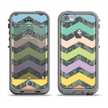The Vibrant Colored Chevron With Digital Camo Background Apple iPhone 5c LifeProof Fre Case Skin Set