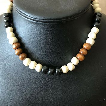 Black White and Brown Wood Beaded Mens Necklace
