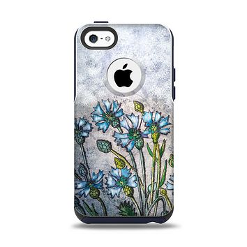 The Watercolor Blue Vintage Flowers Apple iPhone 5c Otterbox Commuter Case Skin Set
