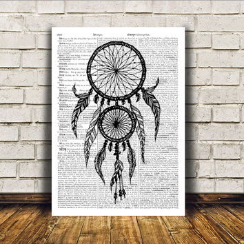 Dreamcatcher poster Native American print Wall decor Tribal art RTA332