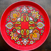 Vintage Red Mid Century Floral tray Bright floral tin tray made in England by Elite Trays 60s Mod