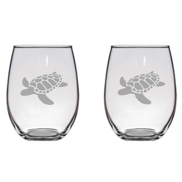 Sea Turtle Engraved Glasses, Sea Life, Turtles Ocean, Gift Free Personalization