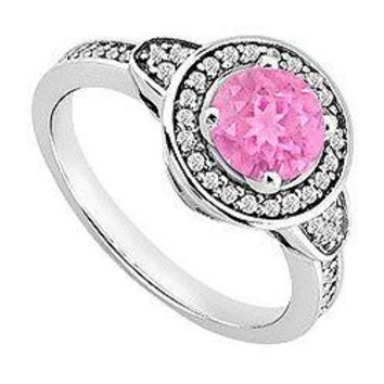 Pink Sapphire and Diamond Engagement Ring 14K White Gold  0.85 CT TGW