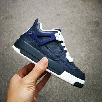 Air Jordan 4 Retro Navy White Toddler Kid Shoes Child Sneakers - Best Deal Online