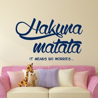 Hakuna Matata Wall Decal Quote Kids Boys Girls Gift Baby Room Wall Decor Nursery Vinyl Sticker Decals Quotes Hakuna Matata Quote Decal x219