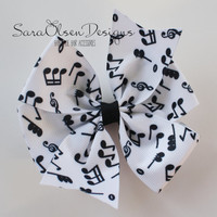 Large Hairbow, Pinwheel Bow, Black White, Music Notes, Pinwheel Hairbow, Large Hairbow, 4 Inch, Hair Accessories, Girls Hairbows, Girls Bow