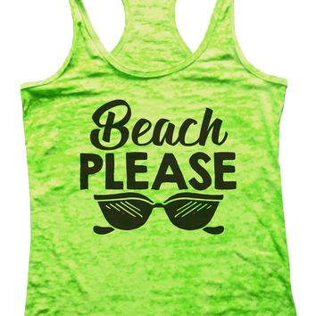 Beach Please Womens Burnout Tank Top By Funny Threadz