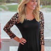 Black Top with 3/4 Leopard Sleeves
