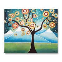 Original Large Acrylic Landscape Painting, Tree of Life Art Abstract Painting, Wall Decor, Big Dipper 20x24