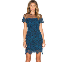 Blue Mesh Floral Lace Short Sleeve Dress