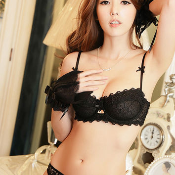 Vivienne Crocheted Lace Sheer Demi Bra Set (Black)