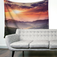 Sunset Sunrise Mountain Country Scenic Boho Wanderlust Unique Dorm Home Decor Wall Art Tapestry