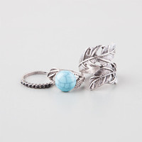 Full Tilt 3 Piece Leaf Wrap/Stone/Turquoise Rings Antique Silver