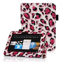 "Fintie Kindle Fire HD 7"" (2012 Old Model) Slim Fit Leather Case with Auto Sleep/Wake Feature (will only fit Amazon Kindle Fire HD 7, Previous Generation - 2nd), Cheetah Pink"