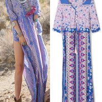 Purple V Neck Boho Tribal Print Slit Side Maxi Dress