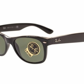 Ray Ban Mens Wayfarer Sunglasses RB2132 901 Black With Green Lens 52mm Authentic