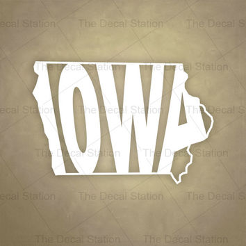 Iowa Vinyl Decal Sticker for Car Truck Auto. Word Art . US State Pride.
