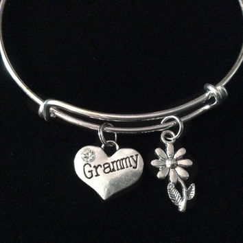 Grammy with Daisy Expandable Charm Bracelet Silver Adjustable Wire Bangle Trendy Grandmother Grandma Gift