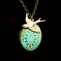 Patina Locket and Bird Necklace by smilesophie on Etsy