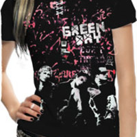 Green Day- Band Pic And Pink Grafitti Wall on a black girls fitted shirt - Green Day