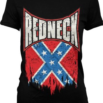Redneck Pride, Distressed Torn Rebel Confederate Flag Ladies Junior Fit T-shirt (Black, XL)