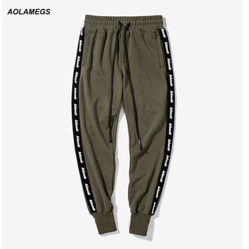 Aolamegs Men Casual Pants Vintage Letter Side Stripe Sweatpants Elastic Waist Hip Hop Male Joggers Pants Street Fashion Trousers