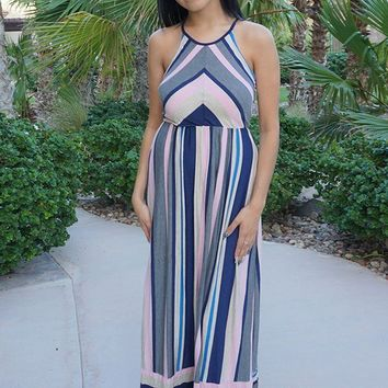 Chasing Sunshine Multi Striped Sleeveless Maxi Dress